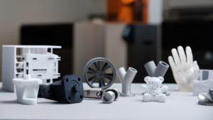 3D printede emner i forskellige materialer