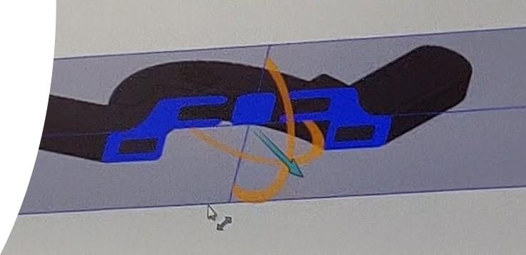 Tegning af tværsnit af robotarm til Sealing Systm
